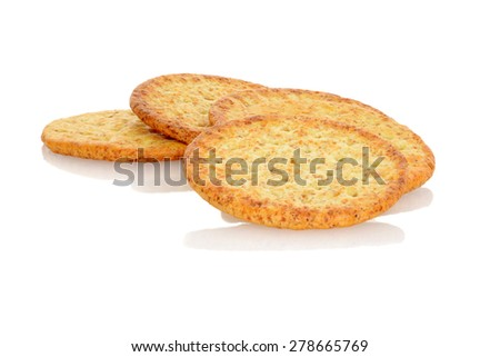 closeup whole wheat crackers - stock photo