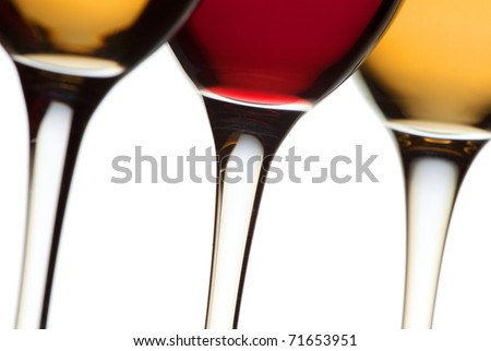 Closeup wine glass isolated over white background - stock photo