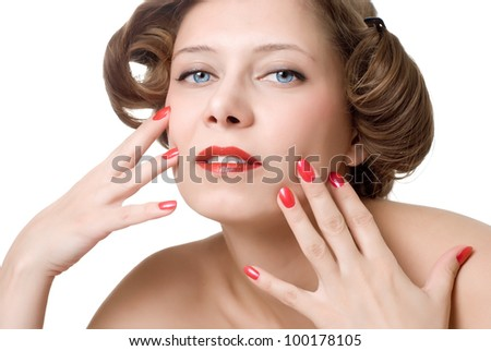 closeup woman portrait with red nails and lips - stock photo