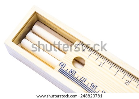 Closeup wood case of pencil white background