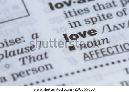 closeup word love  in dictionary, soft focus, - stock photo
