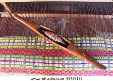 Closeup  woven mats  white thread homemade. at thailand - stock photo