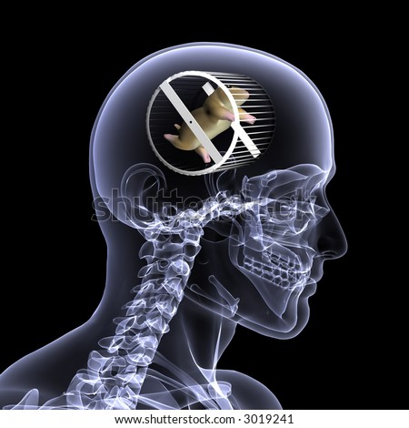 Closeup x-ray of a male skeleton with a hamster running in a wheel in his head for the concept of thought. Isolated on a black background - stock photo