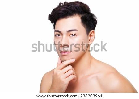 closeup young  handsome man face  - stock photo