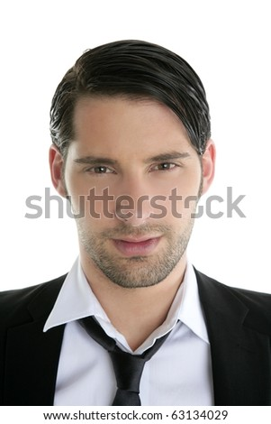 Closeup young man portrait black suit and necklace on white background - stock photo