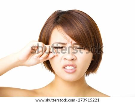 Closeup   young woman  crying  - stock photo