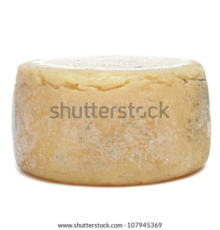 closeupo of a cured cheese on a white background - stock photo