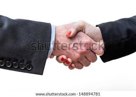 Closuep of a handshake on a isolated background