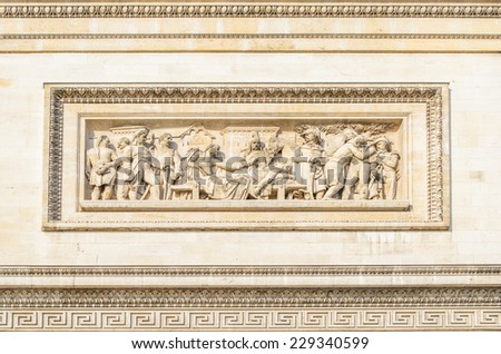 Closup of a details of Arc de Triumph, Paris,France - stock photo