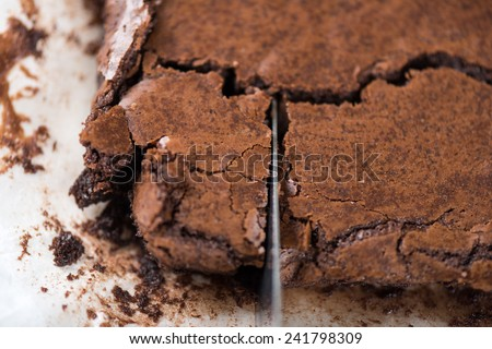 closup surface of crispy homemade brownie - stock photo