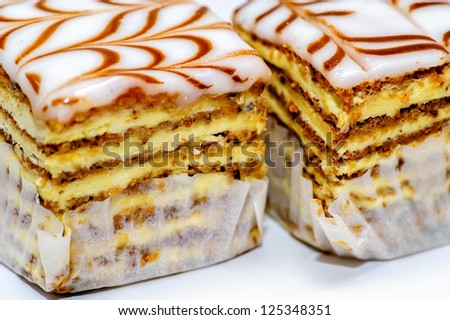 Closup view of pieces of cakes - stock photo