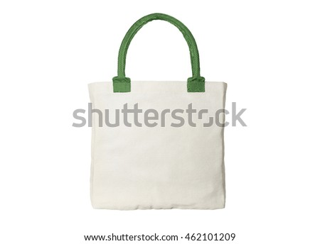 Cloth bag with green handles isolated on white background
