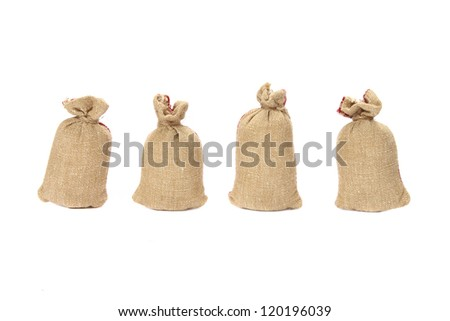 cloth bags on white background
