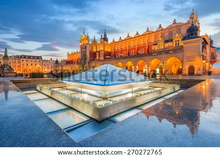 Cloth Hall Sukiennice building at night on main square of Krakow city, Poland - stock photo