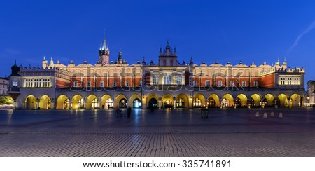 Cloth Hall Sukiennice building in the evening on main square of Krakow city, Poland - stock photo