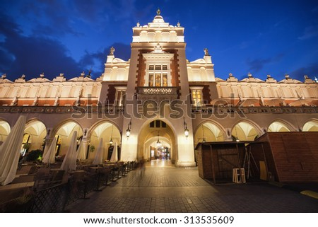 Cloth Hall - Sukiennice in city of Krakow, Poland by night, Main Market Square in the Old Town. - stock photo