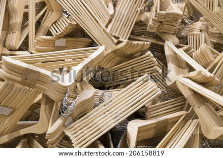 cloth hanger made of wood in pack disorder  stacking - stock photo