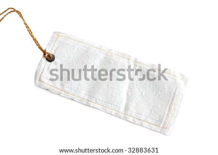 cloth tag isolated on white