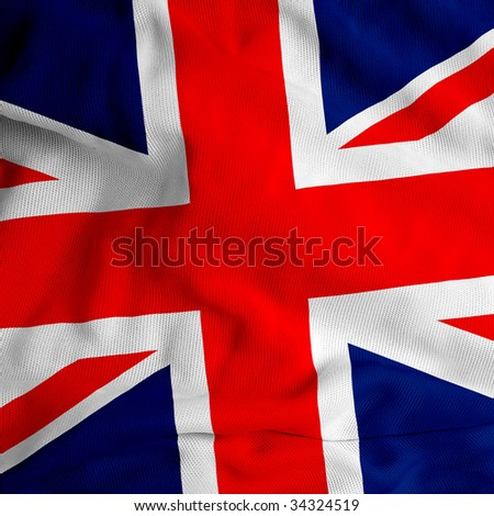 cloth texture UK flag - stock photo