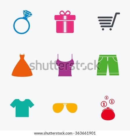 Clothes, accessories icons. T-shirt, sunglasses signs. Wedding dress and ring symbols. Flat colored graphic icons. - stock photo