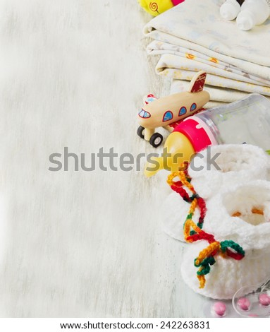 clothes and different accessories for the care of a small child. health and child care concept. selective focus. copy space for you text - stock photo