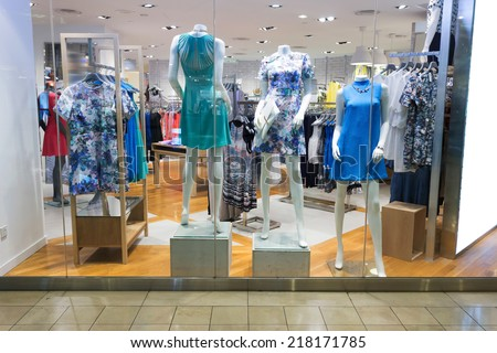 clothes display in the fashion store  - stock photo