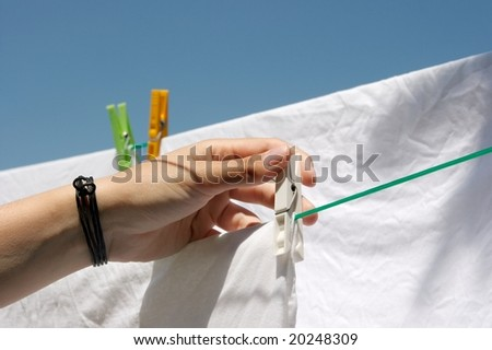 Clothes drying in a rope outdoors