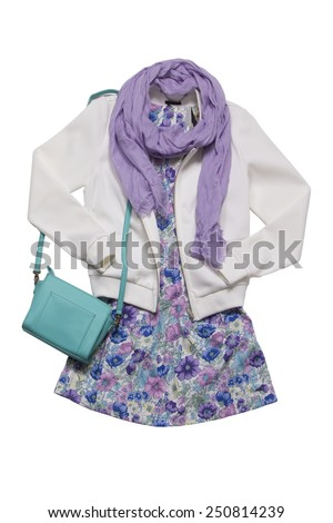clothes for females isolated - stock photo