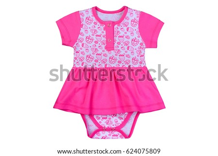 clothes for newborns isolated on a white background, baud together with a dress of pink color