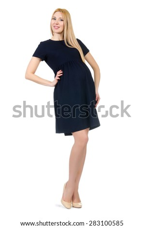 Clothes for pregnant women isolated on white