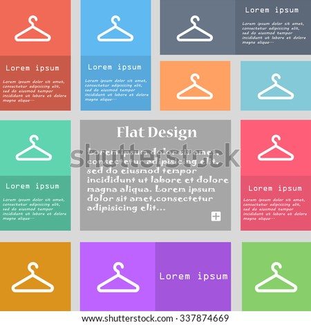 clothes hanger icon sign. Set of multicolored buttons with space for text. illustration - stock photo