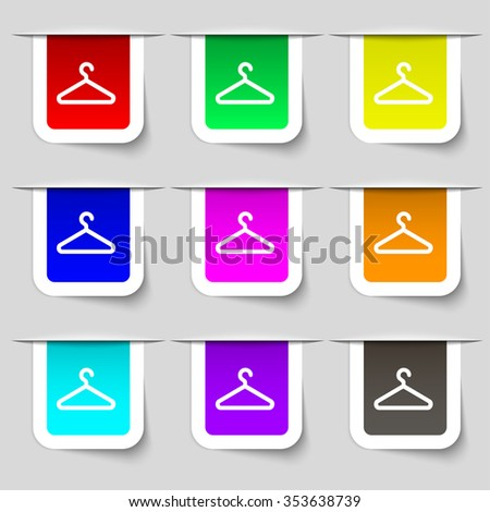clothes hanger icon sign. Set of multicolored modern labels for your design. illustration - stock photo