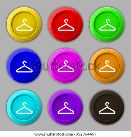 clothes hanger icon sign. symbol on nine round colourful buttons. illustration - stock photo