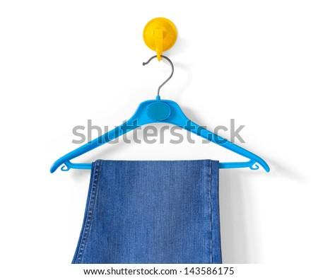 Clothes-hanger With a Blue Bathrobe - stock photo