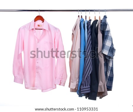 clothes hanger with shirts