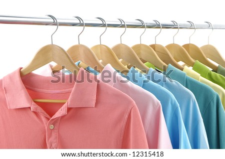 clothes hanger with t-shirt - stock photo