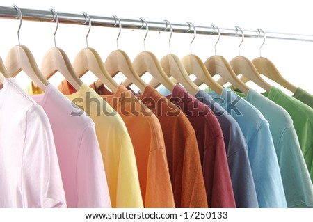 clothes hanger with t shirt - stock photo