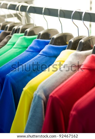 clothes hanger with t-shirt at the show - stock photo