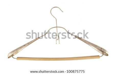 clothes hangers set isolated on white background  Antique Hanger, back view - stock photo