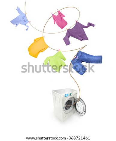 Clothes hanging and washing machine isolated on white background   - stock photo