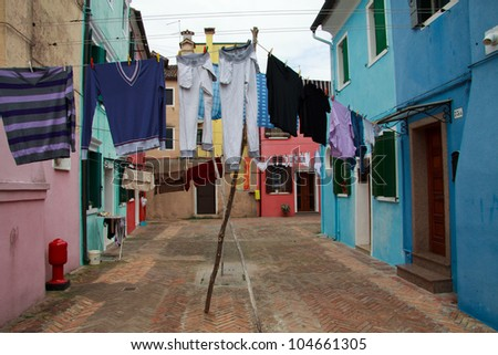 clothes hung between the houses - Burano (Venice)