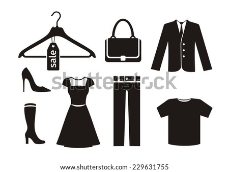 Clothes icon set in black color on white background. Trousers hanger bag jacket woman shoes dress T-shirt silhouettes. Raster version - stock photo