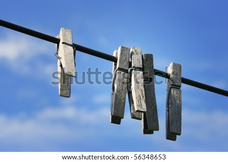 clothes line with pegs - stock photo