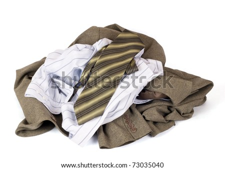 Clothes lots isolated on white - stock photo