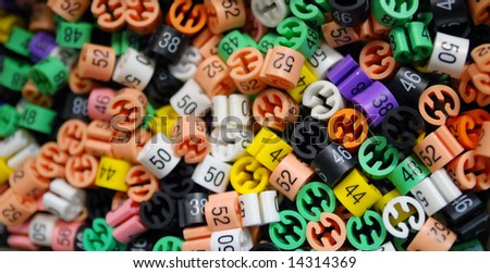 clothes numbers closeup - stock photo