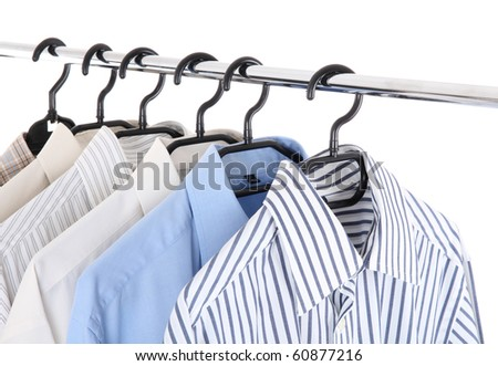 clothes on a hanger, studio isolated - stock photo