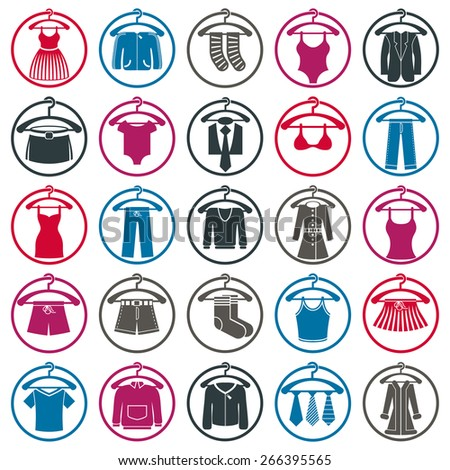 Clothes on a hangers icon set, collection of fashion signs. - stock photo