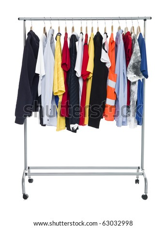 Clothes on a Rack isolated on white Background - stock photo