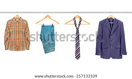 clothes on hangers isolated on a white background - stock photo