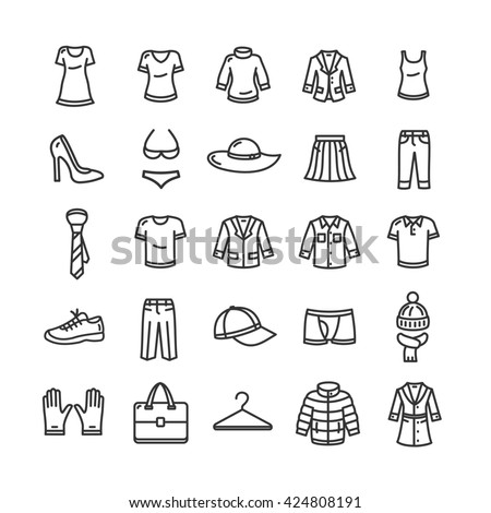 Clothes Outline Icon Set. Black and White illustration - stock photo